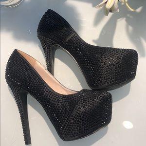 Shoes - Black rhinestone platform heels